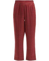 Asceno - Geometric-print Silk Pyjama-style Trousers - Lyst