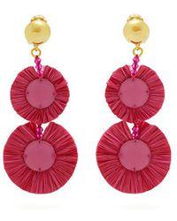 Oscar de la Renta - Bead-embellished Raffia Disc-drop Earrings - Lyst
