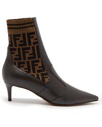 Fendi - Point Toe Leather Sock Boots - Lyst