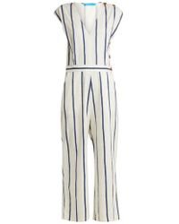 58fb966ca7f Mih Jeans Hart Cropped Striped Silk Jumpsuit in Blue - Lyst