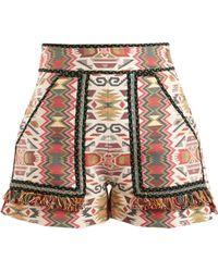 Talitha - Aztec Jacquard Cotton Blend Shorts - Lyst