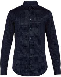 Giorgio Armani - Diamond Flocked Cotton Shirt - Lyst