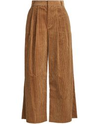 MUVEIL | Wide-leg Cropped Cotton-corduroy Trousers | Lyst