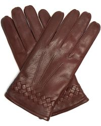 Bottega Veneta | Intrecciato-cuff Leather Gloves | Lyst