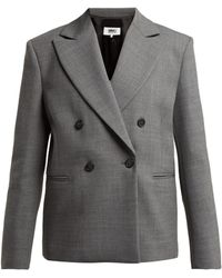 MM6 by Maison Martin Margiela - Double Breasted Twill Blazer - Lyst