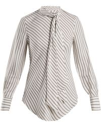 See By Chloé - Striped Crepe Blouse - Lyst