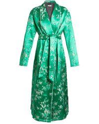 Attico - Floral-jacquard Satin Kimono Dress - Lyst