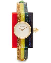 Gucci - 40mm Embellished Plexiglas Bangle Watch - Lyst