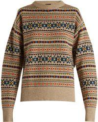 Joseph | Slit-sleeve Fair-isle Knit Jumper | Lyst