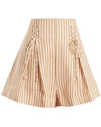 Zimmermann - Painted Heart Lace-up Striped Linen Shorts - Lyst