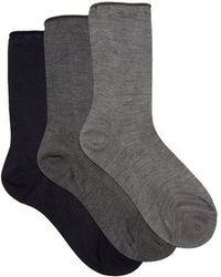 Raey - - Set Of Three Roll Top Silk Socks - Womens - Grey Multi - Lyst
