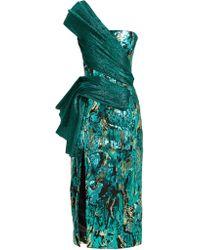 Halpern - Robe asymétrique à sequins et empiècements plissés - Lyst