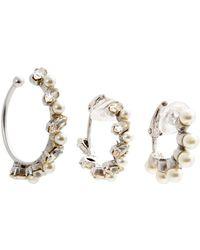 Saint Laurent - - Crystal Arrow Clip On Earrings - Womens - Crystal - Lyst
