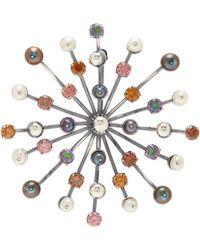 Bottega Veneta - Pearl And Crystal Embellished Brooch - Lyst