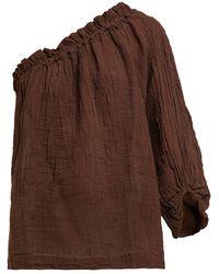 MASSCOB One Shoulder Linen Blend Top - Brown