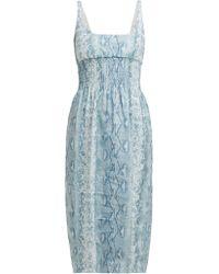 Emilia Wickstead - Python Print Shirred Linen Midi Dress - Lyst