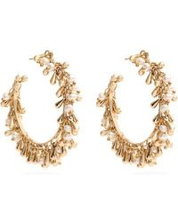 Rosantica By Michela Panero - Flapper Pearl-embellished Small Hoop Earrings - Lyst