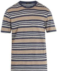 Ermenegildo Zegna - Striped Linen-blend T-shirt - Lyst