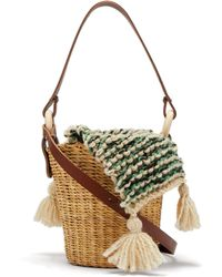Muuñ - Seau Wool And Woven Straw Bucket Bag - Lyst