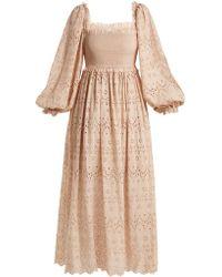 Zimmermann - Bayou Blouson Broderie-anglaise Cotton-blend Dress - Lyst