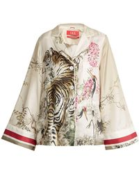F.R.S For Restless Sleepers | Emera Tiger-print Silk-twill Pyjama Shirt | Lyst