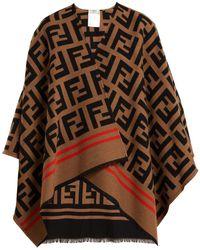 Fendi - Ff Logo Wool-blend Poncho - Lyst