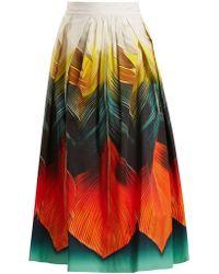 Mary Katrantzou - Nyx Folk-print Silk-organza Midi Skirt - Lyst