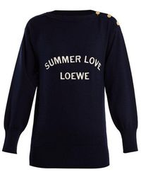 Loewe - Summer Love Logo-embroidered Wool-blend Jumper - Lyst