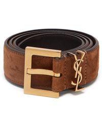 Saint Laurent - Monogram Loop Suede Belt - Lyst