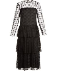 RED Valentino - Tiered Flower Polka-dot Tulle Midi Dress - Lyst