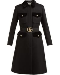 Gucci - Gg Belt Single Breasted Wool Blend Coat - Lyst