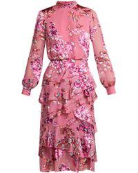 Saloni - Robe à dévoré floral Isa Inignia - Lyst