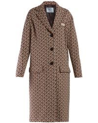 Prada Geometric Jacquard Single Breasted Coat