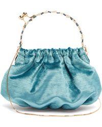 Rosantica By Michela Panero Versailles Crystal Embellished Velvet Clutch - Blue