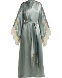 Carine Gilson - Robe de chambre kimono en satin de soie à dentelle - Lyst