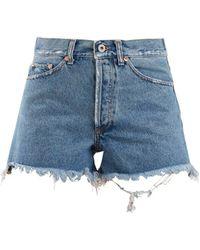 Off-White c/o Virgil Abloh - Frayed-hem High-rise Denim Shorts - Lyst