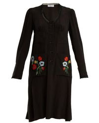 Sonia Rykiel - Floral-embroidered Lace-trimmed Silk Dress - Lyst