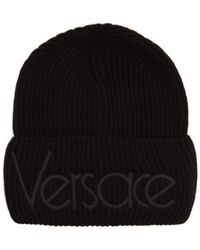 Versace - Logo-embroidered Wool Beanie Hat - Lyst