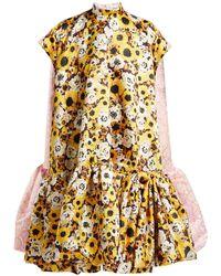 Richard Quinn - Floral Print A Line Duchess Satin Dress - Lyst