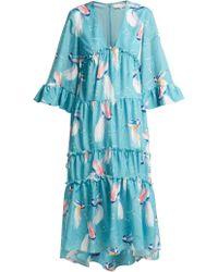 Borgo De Nor - Iris Birds Of Paradise Print Crepe Dress - Lyst