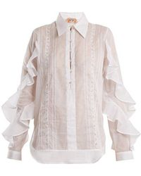 N°21 - Ruffle-panelled Cotton Shirt - Lyst