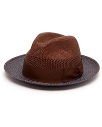 Borsalino Quito Woven Straw Panama Hat - Multicolour