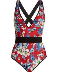 Diane von Furstenberg - Floral Print Swimsuit - Lyst