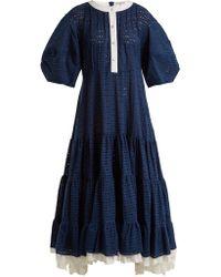 Natasha Zinko - Broderie-anglaise Puff-sleeved Cotton Dress - Lyst