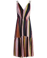 Apiece Apart - Daphne Striped Linen And Silk-blend Dress - Lyst