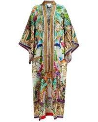 Camilla Champagne Coast Silk Printed Kimono Style Robe