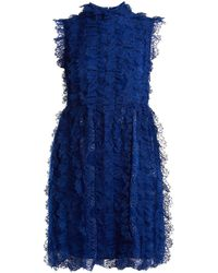 Givenchy - Ruched-lace High-neck Dress - Lyst