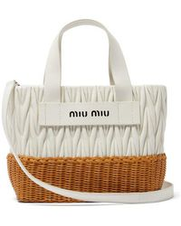 Miu Miu - Matelassé-quilted Leather And Wicker Tote Bag - Lyst