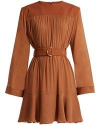 Chloé - Silk Mix Mousseline Belted Mini Dress - Lyst
