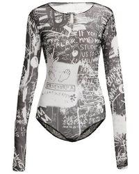 MM6 by Maison Martin Margiela - Scribble-print Long-sleeved Bodysuit - Lyst